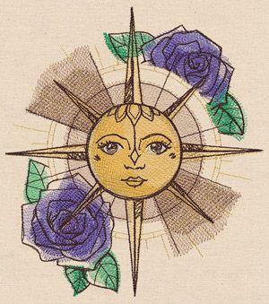 Wanderlust - Sun Compass design (UT11648) from UrbanThreads.com