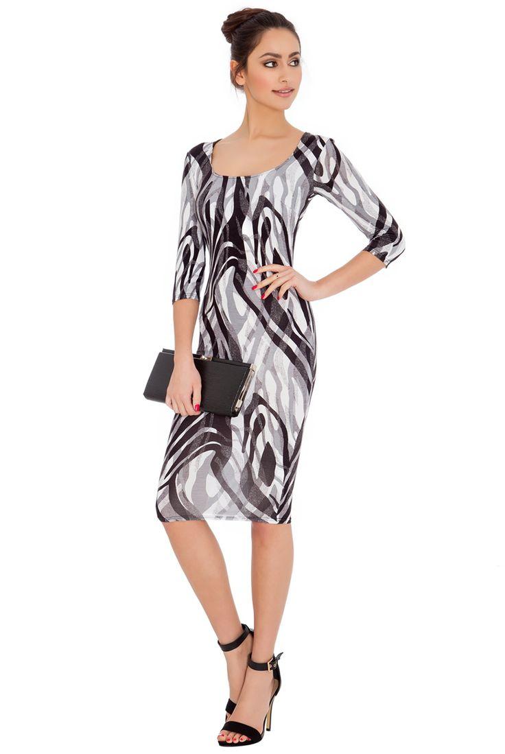 ABSTRACT PRINT QUARTER SLEEVED MIDI DRESS #blackprint #dress #citygoddess #citygoddesswholesale #wholesale #fashion #mididress #casualdress