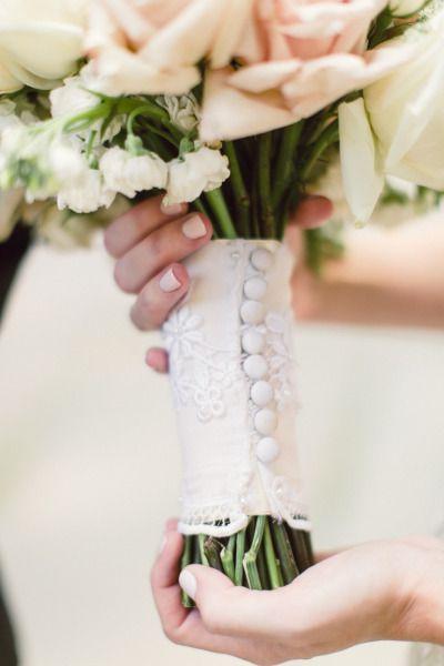 Buttoned bouquet wrap: http://www.stylemepretty.com/little-black-book-blog/2015/02/26/modern-chic-philadelphia-wedding/ | Photography: Lauren Gabrielle - http://laurengabrielle.com/
