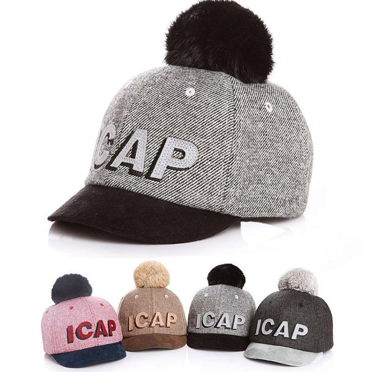 >> Click to Buy << Winter Letter Children's Hat Baseball Cap Baby Girls Caps Rabbit PomPoms Ball Hats For Girls Outings Snapback Winter Hat Gorros #Affiliate