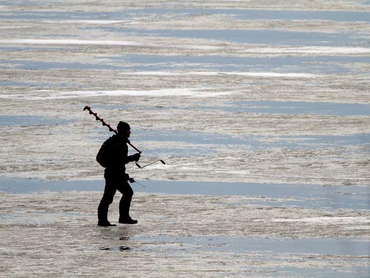 A fisherman on the Sea Ice, Helsinki, by Heikki Rantala
