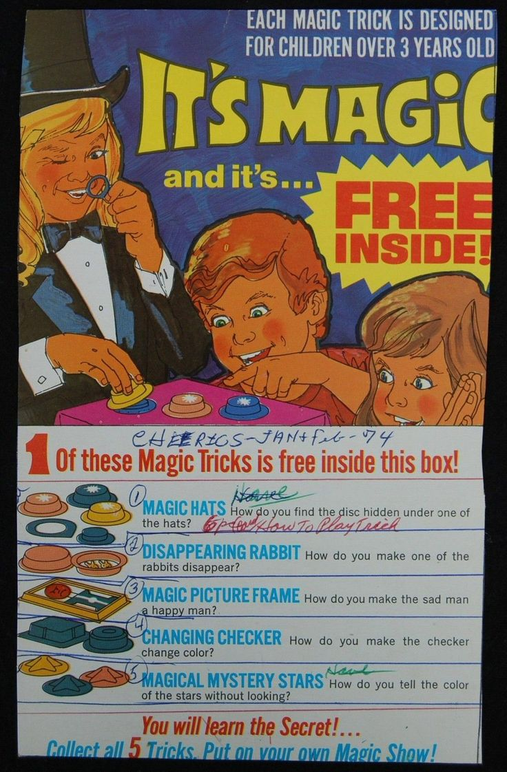 [ 1974 General Mills CHEERIOS - Vintage CEREAL BOX - MAGIC TRICKS Promotion ] | eBay