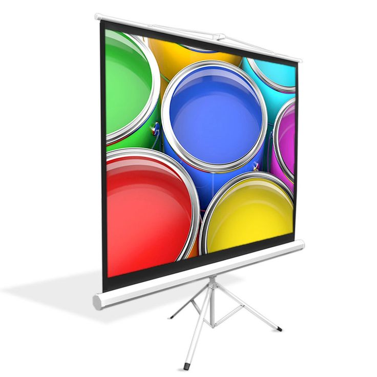 Pyle Universal 100-Inch Floor Standing Portable Fold-Out Roll-Up Tripod Manual Projector Screen- Matte White