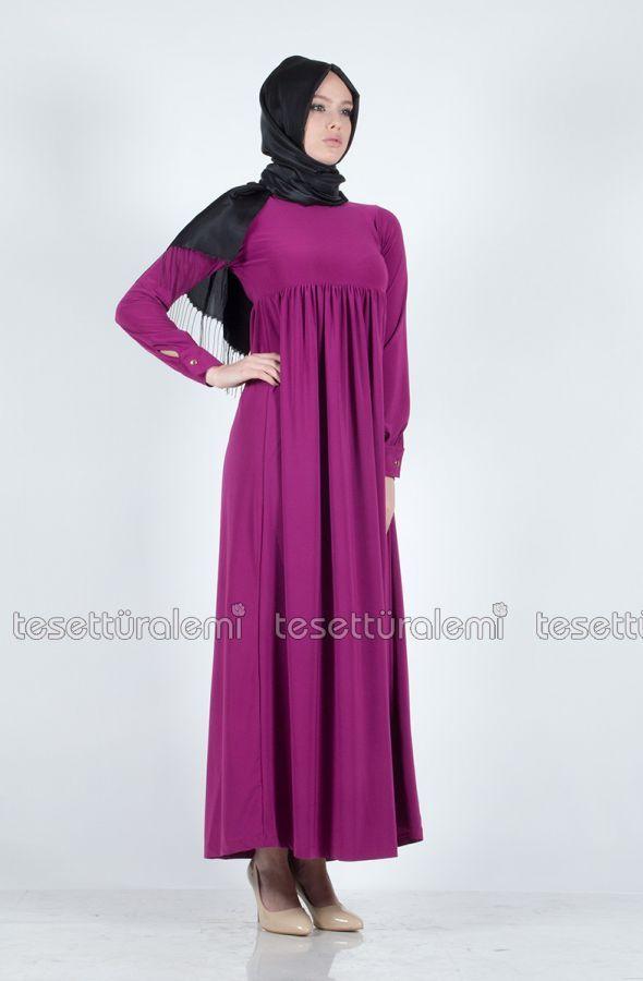 Robalı Uzun Elbise - Fuşya - Afili - B1215