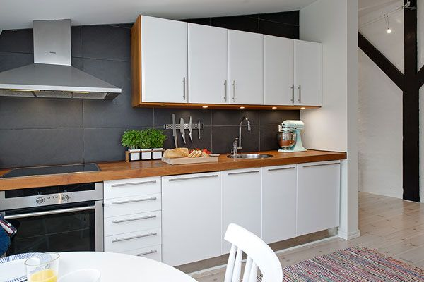 Beautiful Penthouse Sweden-Scandanavian style, and i love the magnetic knife mount