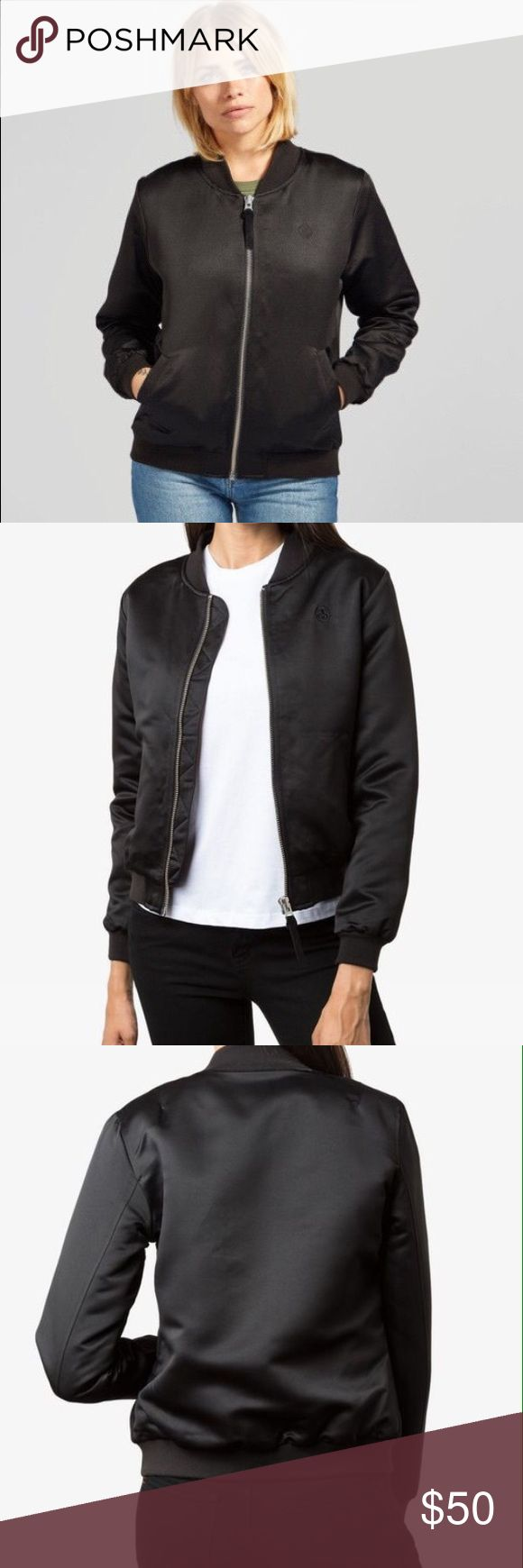 Stussy Bomber Jacket Women's Stussy Union Bomber Jacket. It has a nice, black sheen and a roomy feel even though it is an XS. Great condition! Stussy Jackets & Coats