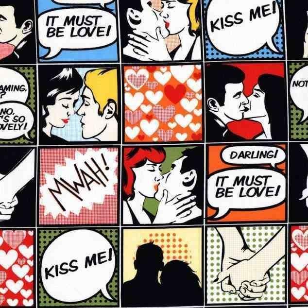 Kiss Me! Comic Strip print by Michael Miller