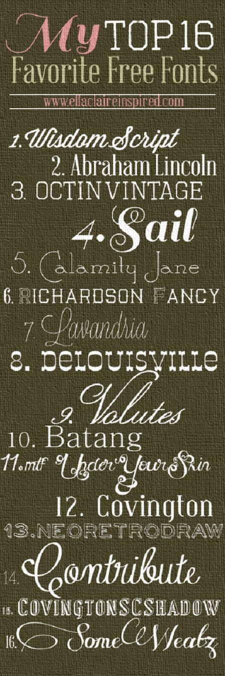 {Ella Claire}: 16 Favorite FREE Fonts including links! Score!