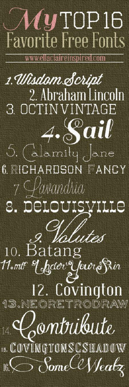 {Ella Claire}: 16 Favorite FREE Fonts including links! Score!