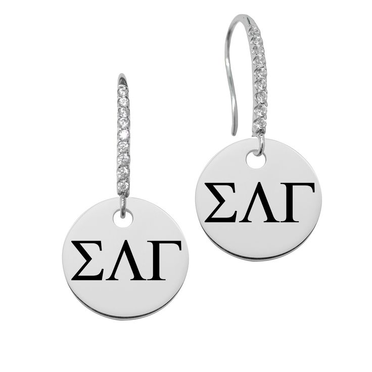 Sigma Lambda Gamma Greek Letters Round Charm and CZ Earring in Solid Sterling Silver