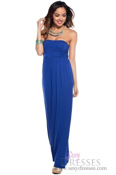 BLUE TUBE TOP LOOK PADDED CHEST MAXI DRESS,Sexy Maxi ... |Blue Tube Top Dress