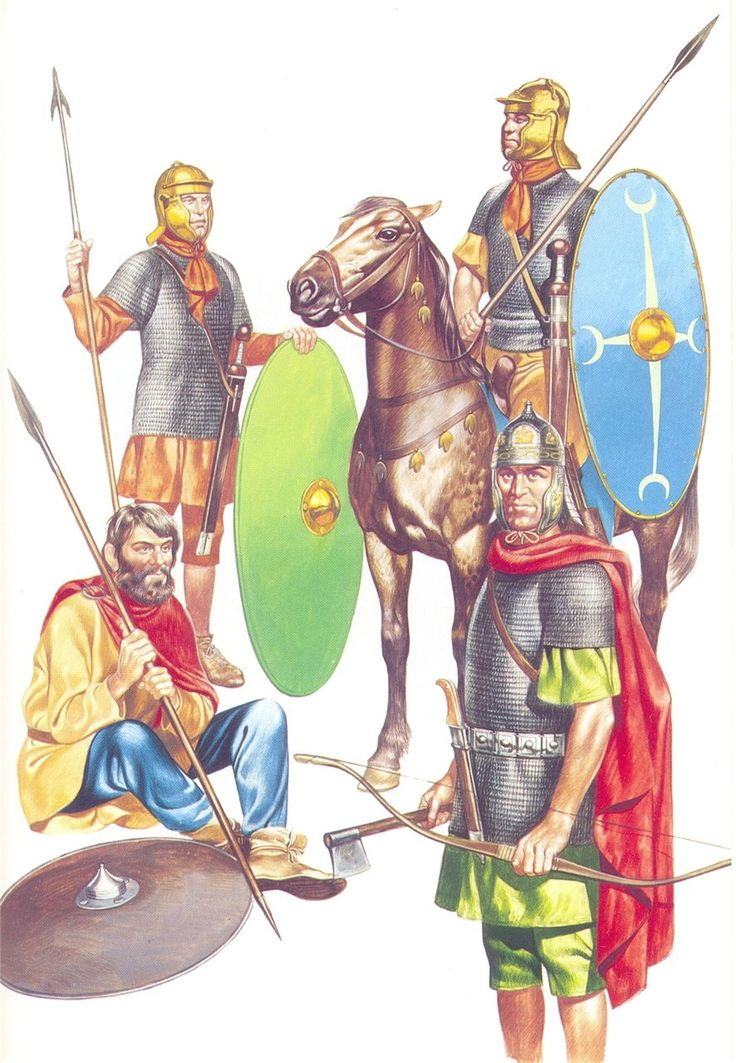 Roman auxiliaries during the second century AD. Here an cavalryman, a infantryman, an light spearman, and an archer is depicted.