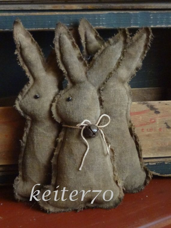 Primitive Easter Rabbit Bunny Ornie/Ornies Bowl by keiter70