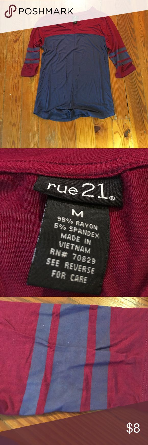 Rue 21 Half sleeve shirt Maroon and navy blue Rue 21 Half sleeve shirt. Features navy blue stripes on maroon sleeves. Super comfy and soft! Size medium but fits like a small. Bundle and save 10%. Comment if you have questions! Rue 21 Tops Tees - Short Sleeve