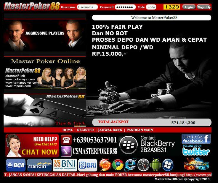 Game Poker Online dgn uang Asli Terbaik & terpercaya di indonesia MASTER POKER88  tempatnya, MENGAPA ??  1 Karena Master Poker88 menerapkan sistem 100 % Real Player (Murni Player Vs Player ) 2 software friendly & player sangat banyak, system anti BOT & Fair Play 3. Layanan  24 jam Nonstop