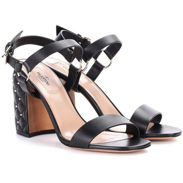 Valentino Valentino Garavani Free Rockstud Spike Leather Sandals ($1,010) ❤ liked on Polyvore featuring shoes, sandals, black, kohl shoes, black leather shoes, spiked shoes, black leather sandals and genuine leather shoes