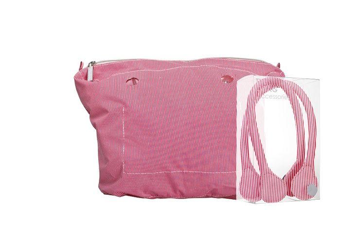 Kit O bag canvas righe rosse + manici corti in cotone, pe2015