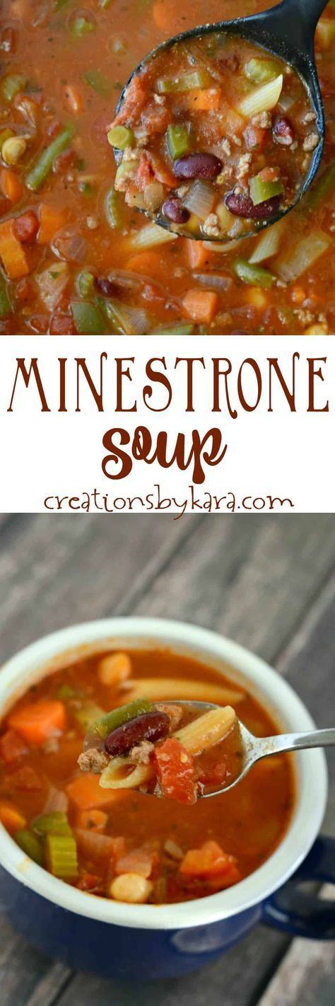 Recipe for the best ever Minestrone Soup. Loaded with ground beef, veggies, beans, and pasta, this is a perfect cold weather soup! via @creationsbykara.com