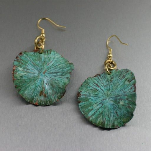 Green Patinated Copper Lily Pad Earrings – Medium  $60.00