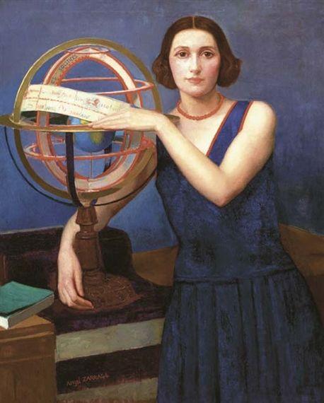 Angel Zárraga  Retrato de mujer con astrolabio , 1930  oil on canvas  Dimensions: 39 x 31¾ in. (99 x 80.6 cm.)  Signed.
