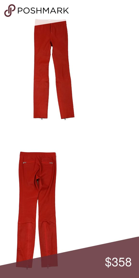 """J Brand- Red Orange Leather Skinny Jeans Sz 4 These leather skinny jeans are fire! Not only are they in one of the seasons' hottest colors, but they also feature a zip leg design, so you'll never feel ordinary while wearing these jeans. Size 4 Comes w/original tags Retails for $1,495 Shell 100% dyed lamb leather Lining 100% acetate Front hook, button & zip close Leg zips Decorative back zip pockets Waist 26"""" Hips 28"""" Inseam 29.75"""" Leg opening 5.25"""" Total length 39"""" J Brand Jeans Skinny"""