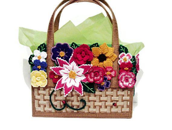 Floral basket handbag di ekimsmanmadehandbags su Etsy
