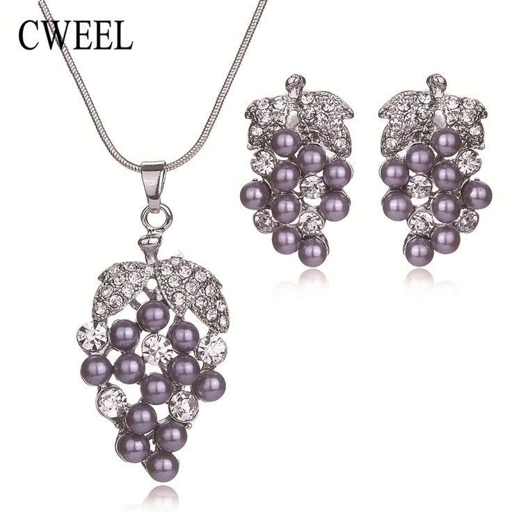 CWEEL Women Wedding Party Simulated Pearl Grape Imitated Crystal Necklace Earrings Jewelry Sets Bridal African Beads Accessories