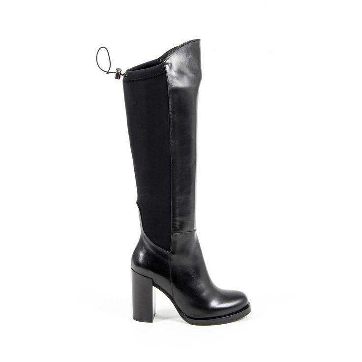 Versace 19.69 Abbigliamento Sportivo Srl Milano Italia Womens High Boot B2406 VITELLO NERO LICRA NERO