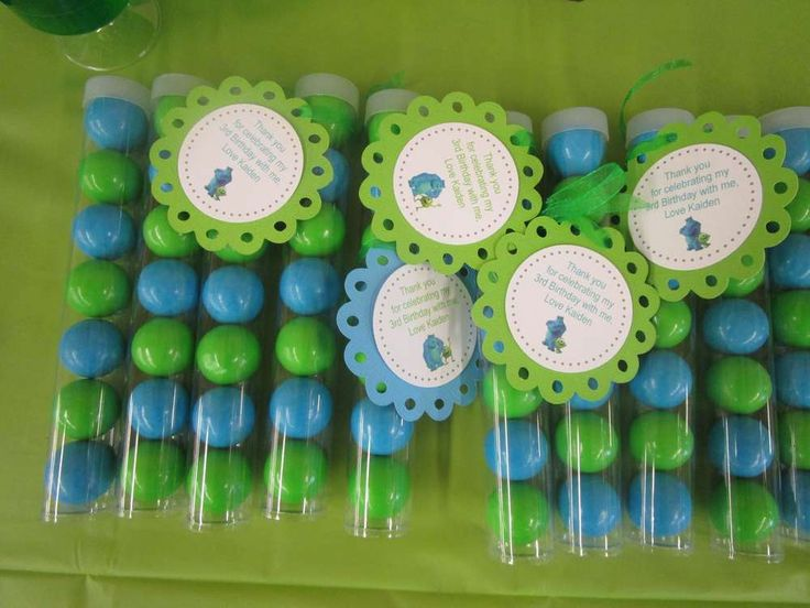 Monsters Inc. birthday party gumballs! See more party planning ideas at CatchMyParty.com!