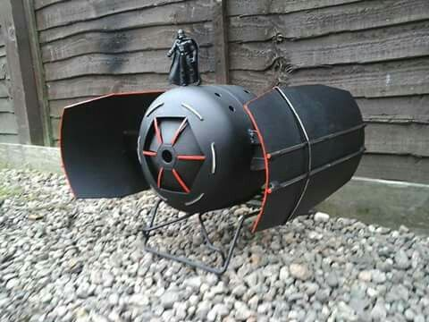 darth vader showing off his imperial tie fighter fire pit wood burner by barry wood https m. Black Bedroom Furniture Sets. Home Design Ideas