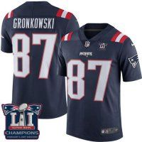Nike Patriots #87 Rob Gronkowski Navy Blue Super Bowl LI Champio