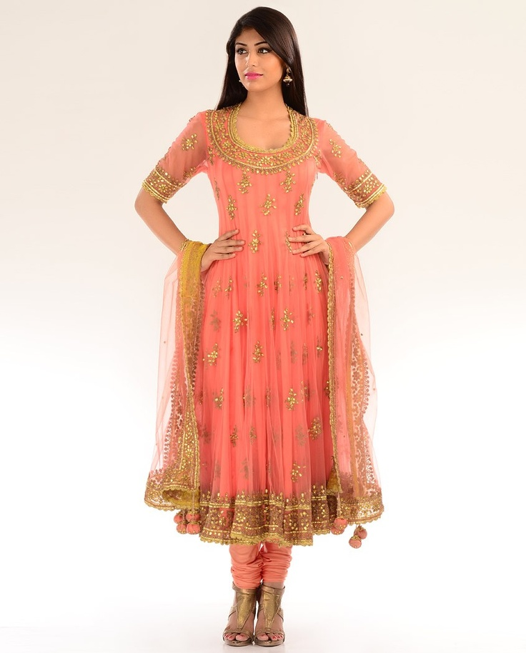 Gota Embellished Peach Kalidar Suit