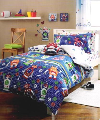 Robots aliens space blue red green single quilt doona for Robot bedroom