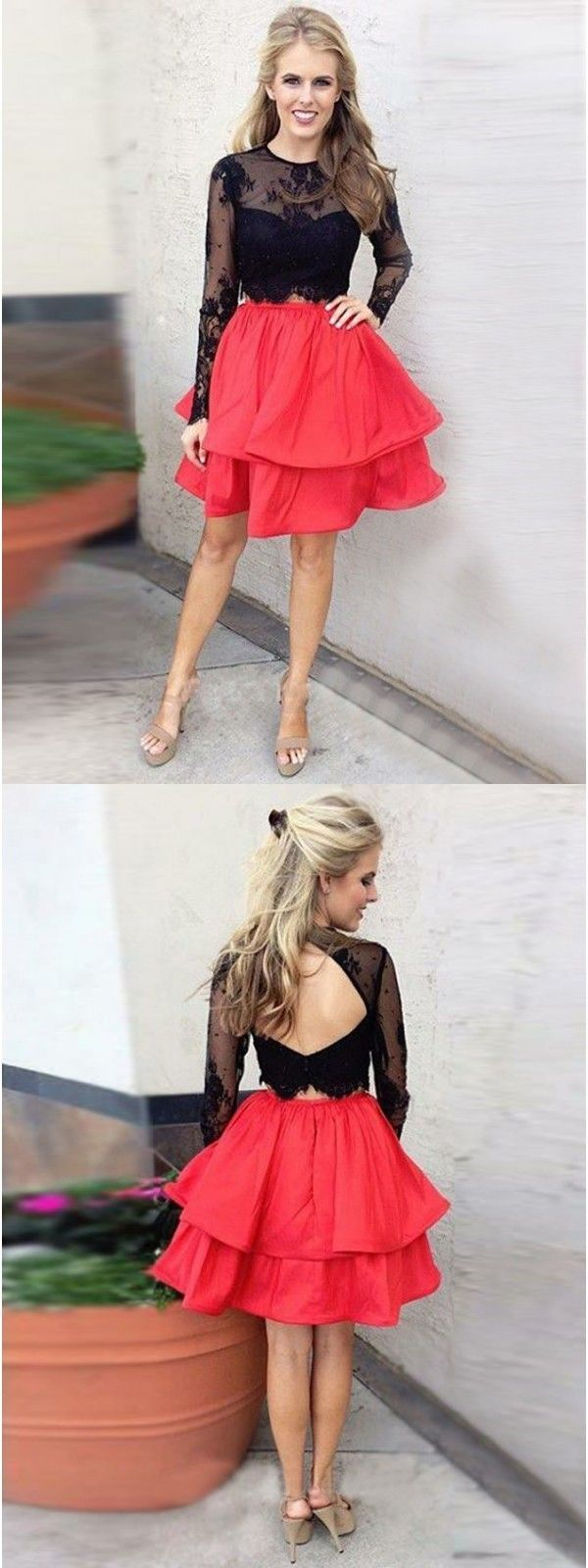 Top Black Homecoming Dress With Long Sleeves,  Short Red Prom Dress, Above-Knee Party Dress with Appliques