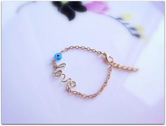 Love Wire Wrap Script Bracelet  on Etsy, €13.00