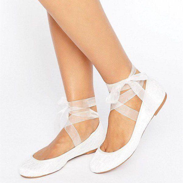 White Lace Flat Wedding Shoes Round Toe