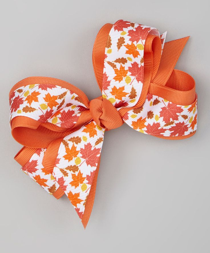 Another great find on #zulily! Orange Fall Leaves Bow Clip by Picture Perfect Hair Bows #zulilyfinds