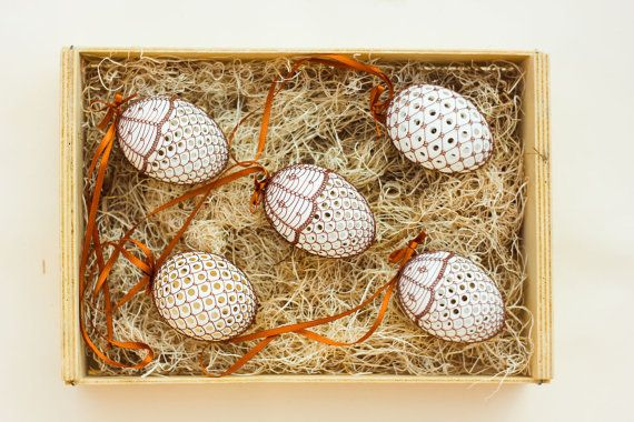 Copper Wire Wrapped Easter Eggs 5 piece Quintet by czechegg