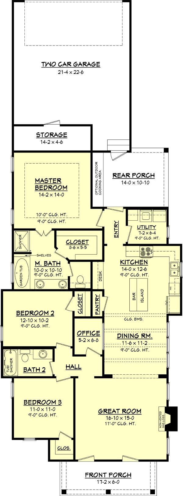 Cottage Style House Plan - 3 Beds 2 Baths 1550 Sq/Ft Plan #430-63 Floor Plan - Main Floor Plan - Houseplans.com