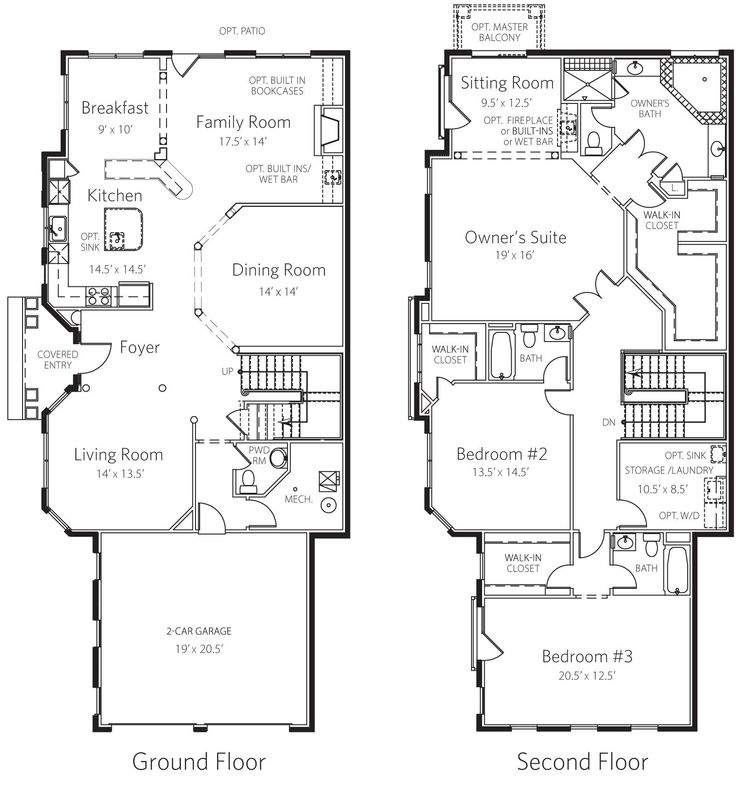 234 best images about house plans on pinterest house Luxury townhome floor plans