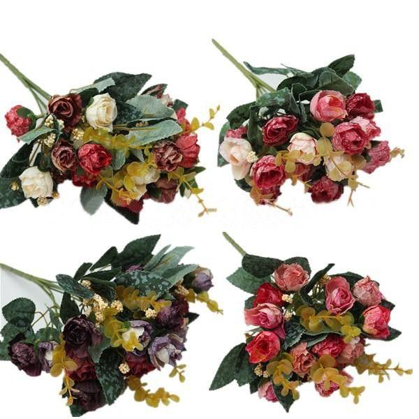 1 Bouquet Artificial Peony Silk Flower Leaf Home Party Wedding Decoration a2941b28559