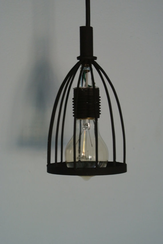 Black Wire Cage Hanging Pendant Light Fixture By