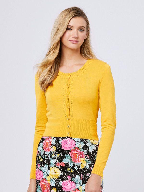 Mustard Maggie Long Sleeve Cardi