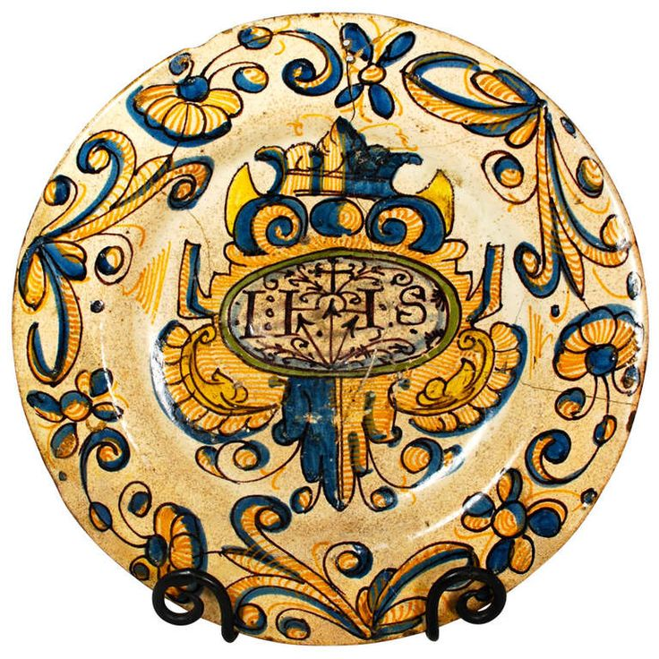 Very Early Spanish Talavera or Puente de Arzobispo Plate 1580-1650 | From a unique collection of antique and modern bowls and baskets at https://www.1stdibs.com/furniture/decorative-objects/bowls-baskets/