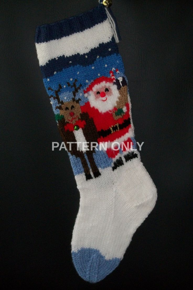 23 best christmas stocking knitting patterns images on pinterest pdf pattern only hand knitted santa and rudolph stocking by knottyneedleworker on etsy bankloansurffo Choice Image
