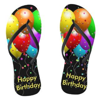 Happy Birthday Balloons Flip Flops