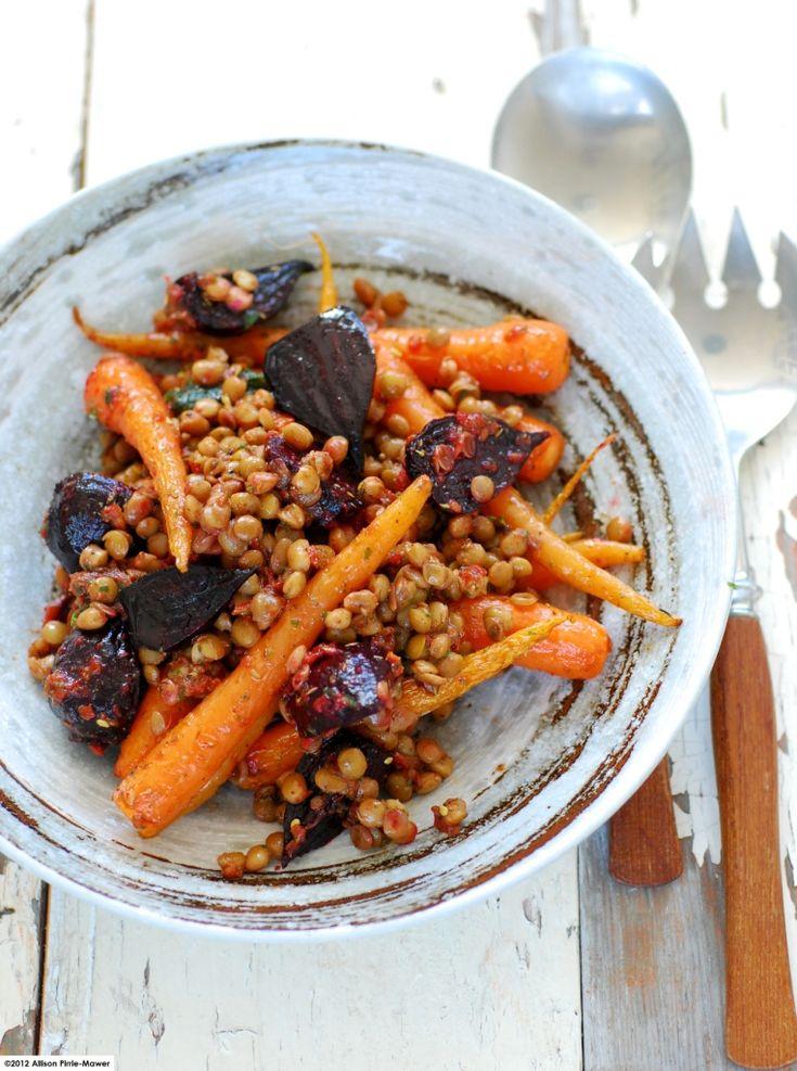 Warm Roast Vegetable & Lentil Salad with Zahtar & Sundried Tomatoes