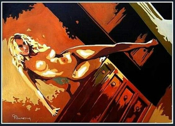 Great nude blonde-Oil on canvas by Constantin Paunescu