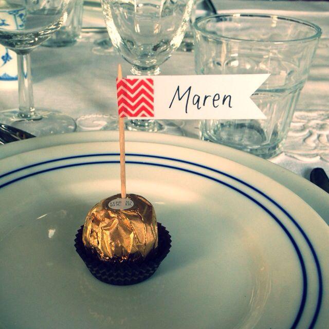 Bordkort med Ferrero Rocher