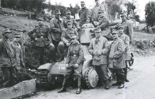 Soldados alemanes en Noruega, 1940.